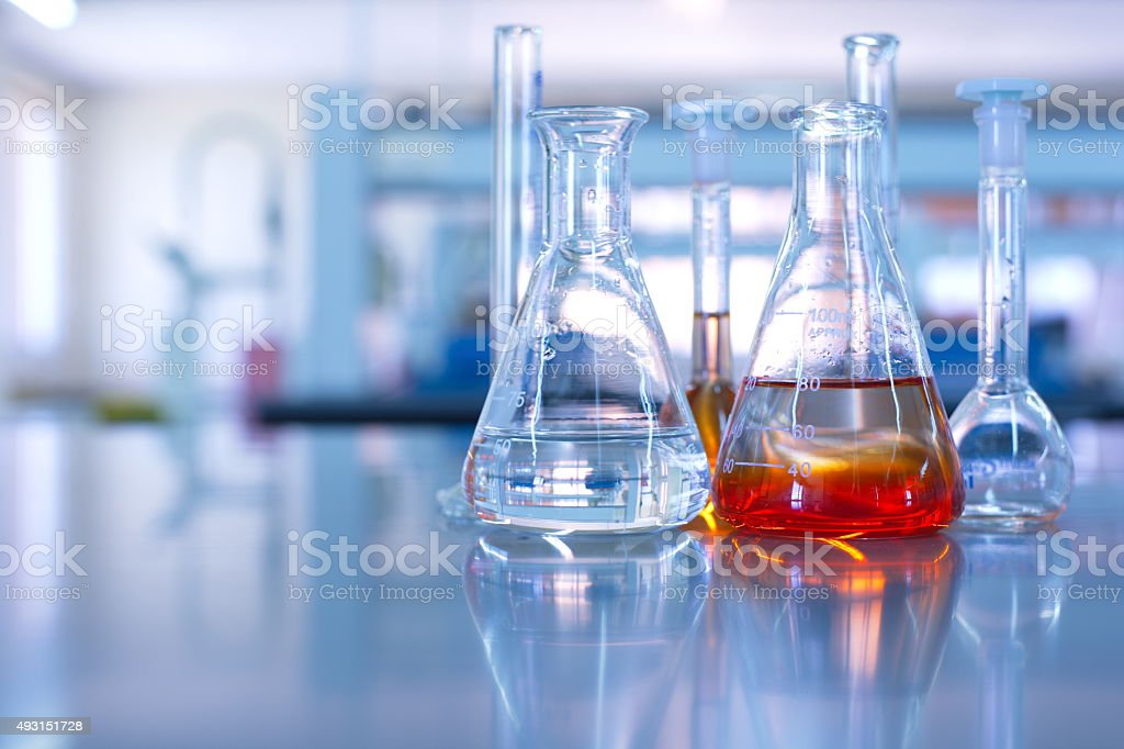 science laboratory glassware stock photo