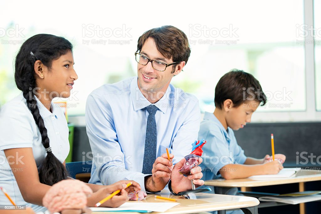 Science teacher talking about heart model to student in classroom stock photo