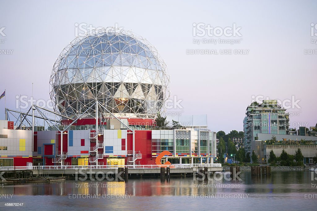 Science World and False Creek in Vancouver, British Columbia royalty-free stock photo