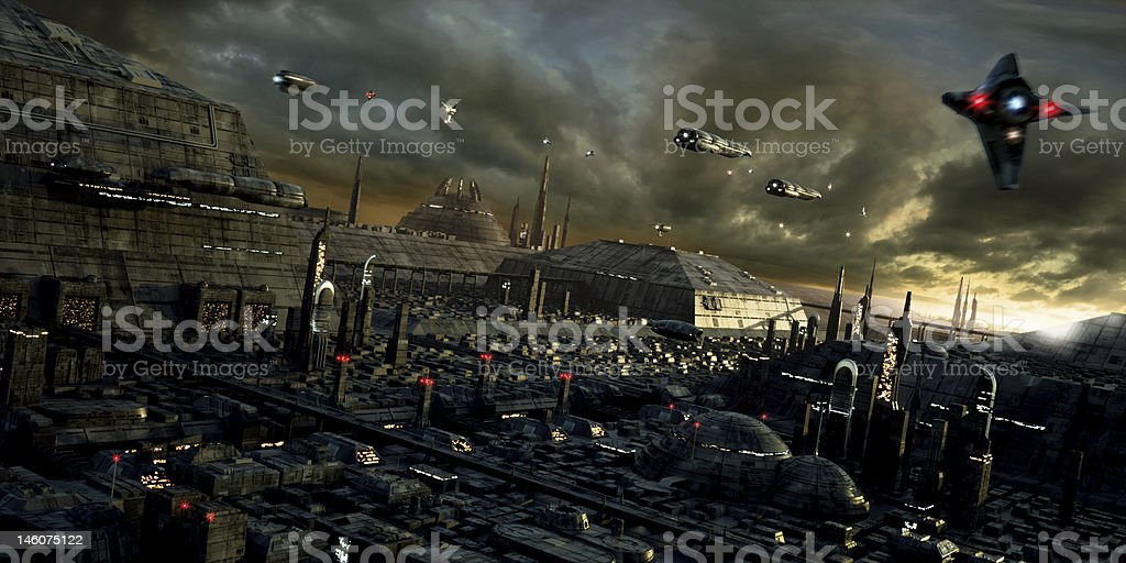 Science-fiction city and landscape stock photo