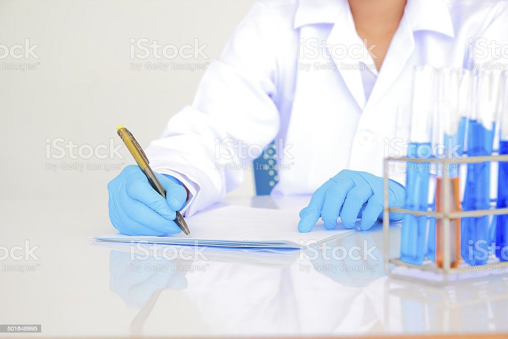 scienctists working  in laboratory royalty-free stock photo