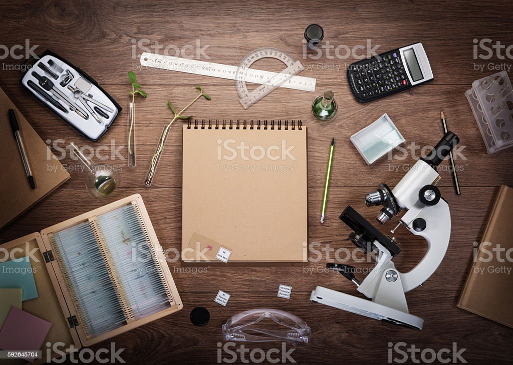 Scientific accessories on the table. stock photo