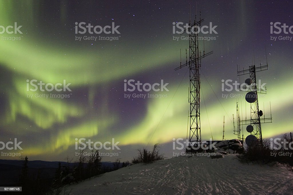Scientific antennas and northern lights royalty-free stock photo