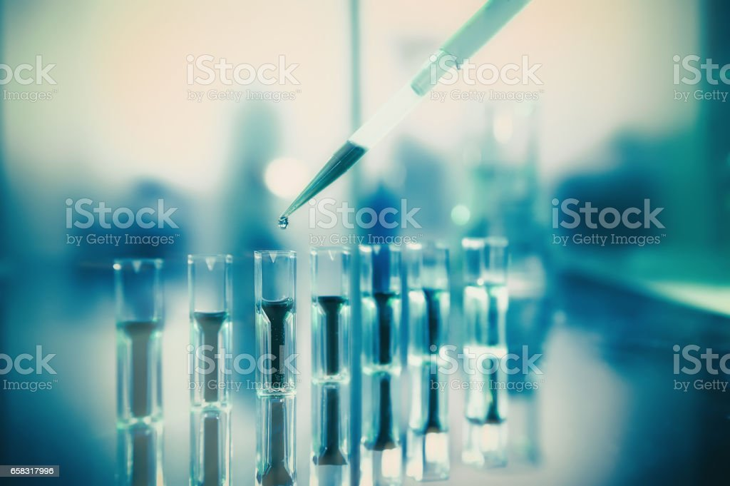 Scientific background in green and yellow, protein analysis stock photo