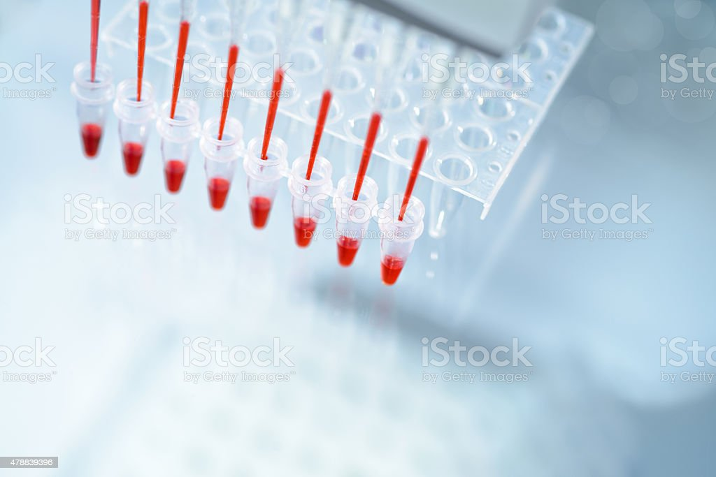 Scientific background on the topic of DNA analysis stock photo