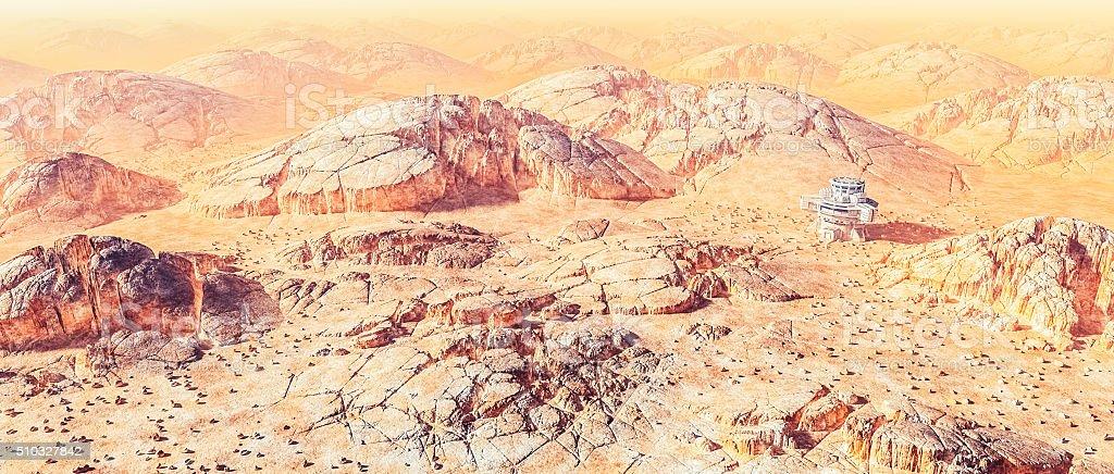 Scientific base in harsh alien landscape stock photo