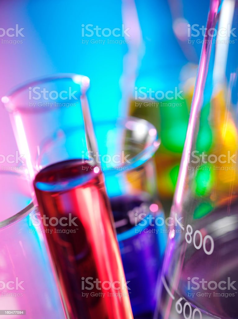 Scientific Beakers for Research stock photo