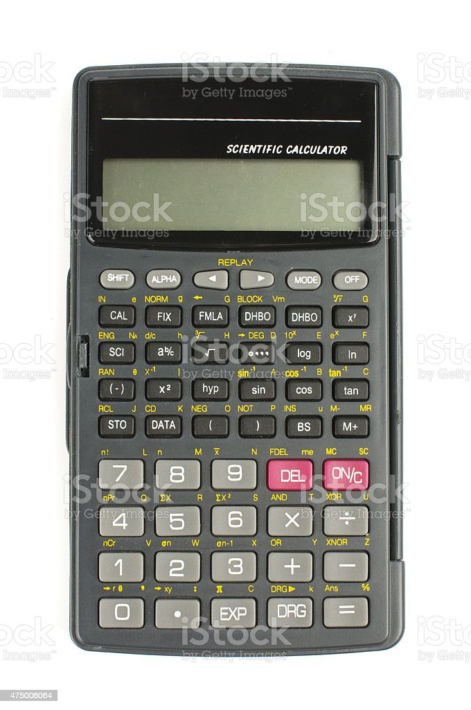 Scientific calculator isolated with clipping path stock photo
