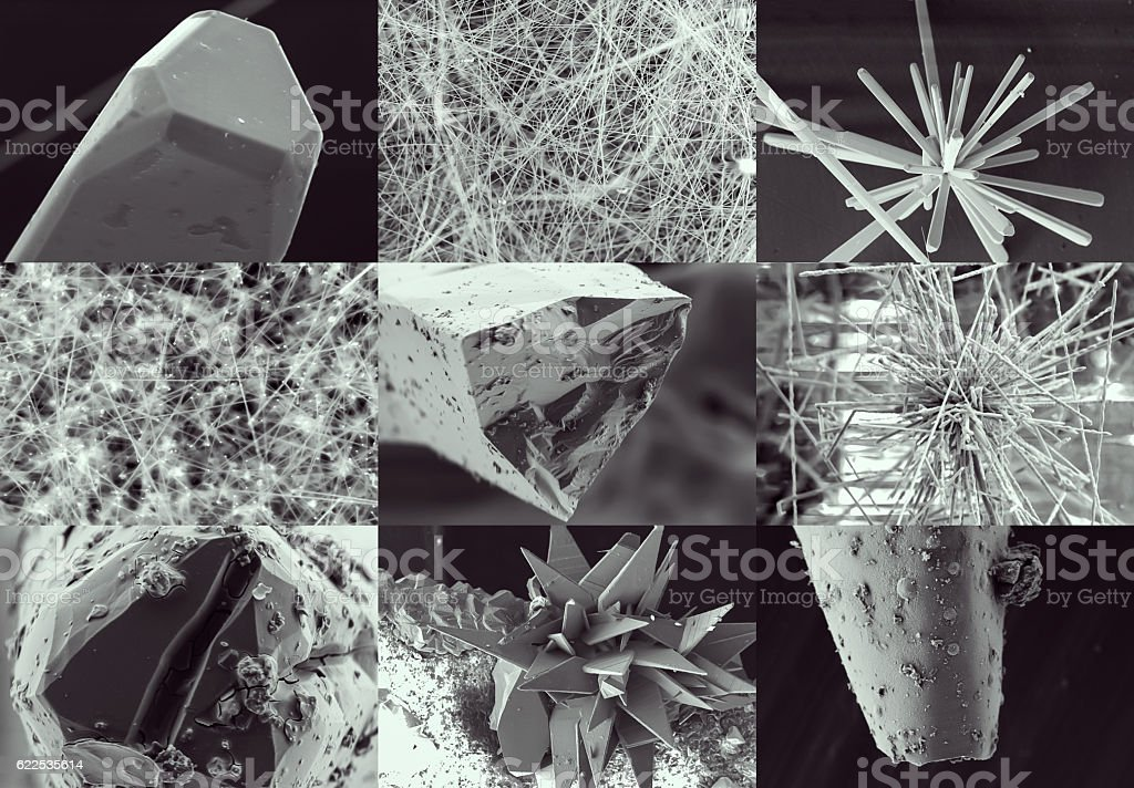 Scientific collage. Crystal in electron microscope stock photo