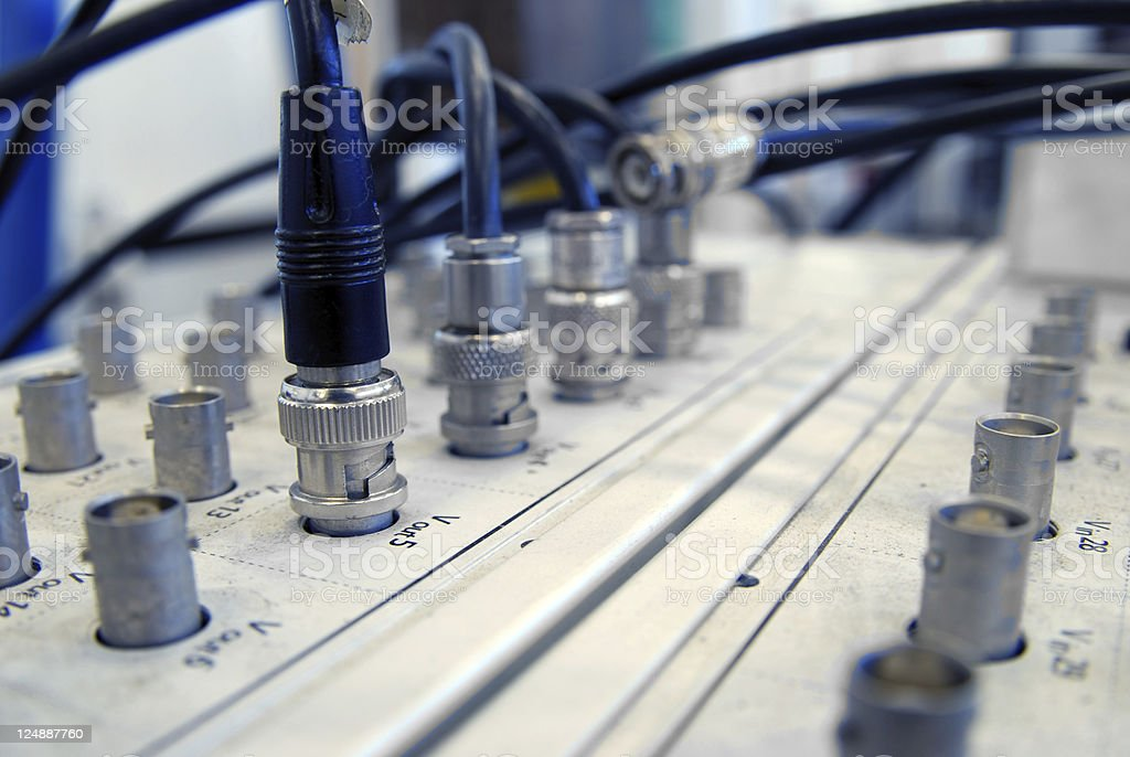 Scientific experiment, cables connected to old board stock photo