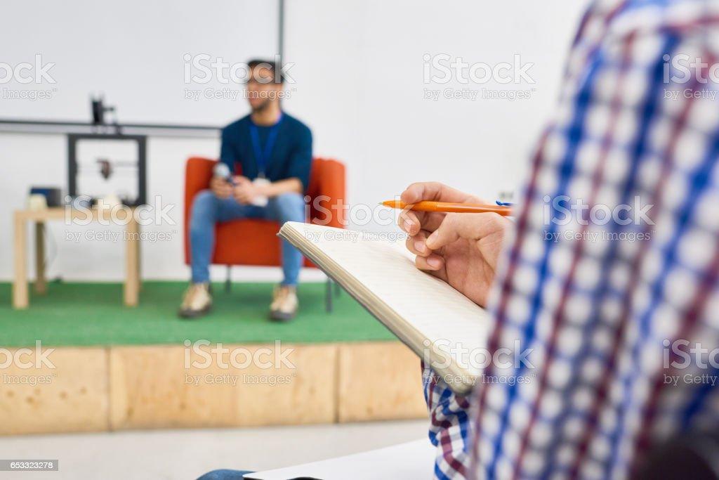 Scientific lecture stock photo