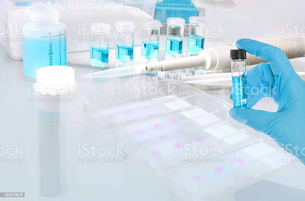 Scientific or medical background with fixation of tissue samples stock photo