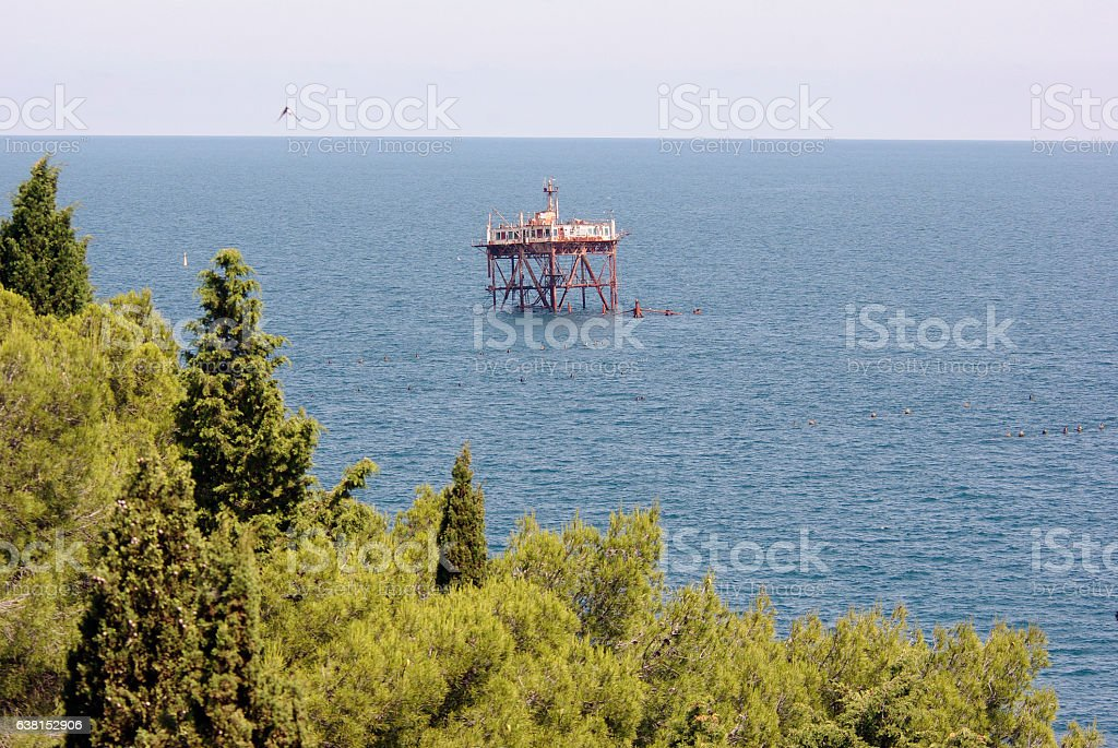 scientific platform in sea stock photo