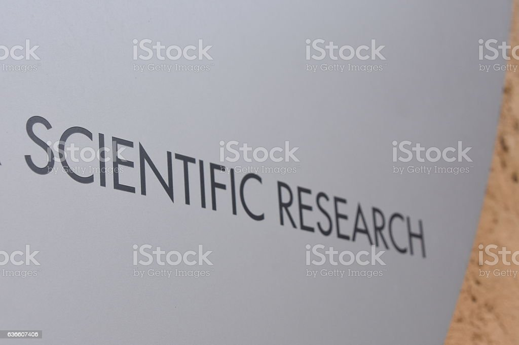 scientific research sign stock photo