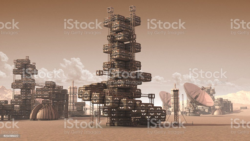 Scientific settlement on an arid red planet stock photo