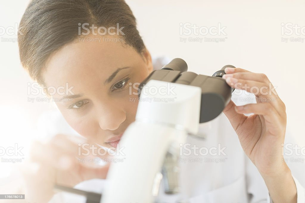 Scientist Adjusting Microscope In Laboratory royalty-free stock photo