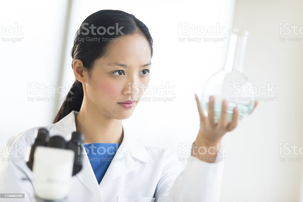 Scientist Analyzing Chemical Solution At Laboratory royalty-free stock photo