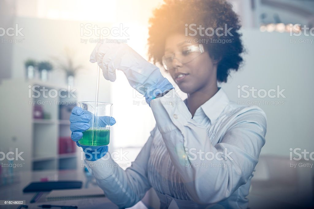 Scientist and proud stock photo