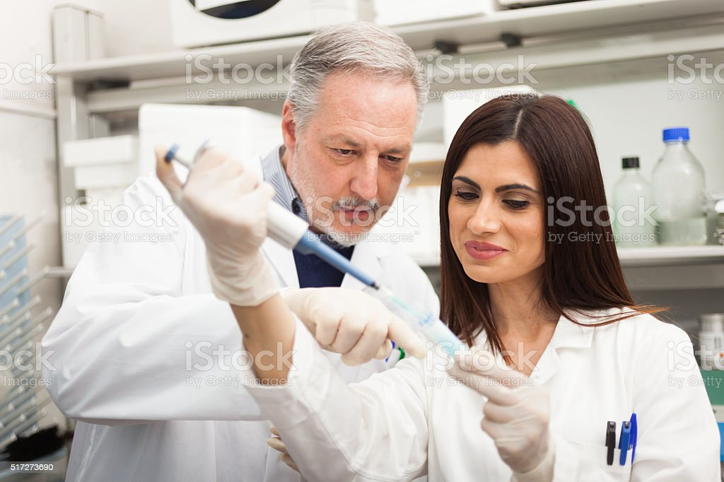 Scientist at work in a laboratory stock photo