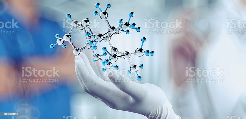 scientist doctor hand holds virtual molecular structure stock photo