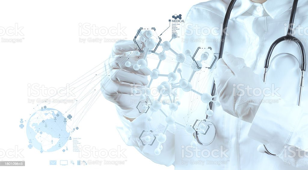 scientist doctor hand touch virtual molecular structure in the l royalty-free stock photo