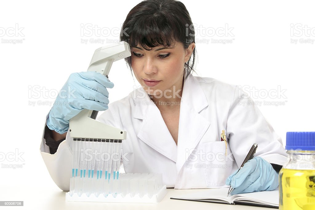 Scientist documenting lab results royalty-free stock photo