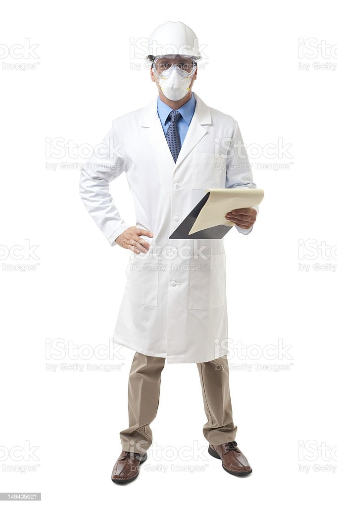 Scientist Engineer with Clipboard Isolated on White Background stock photo