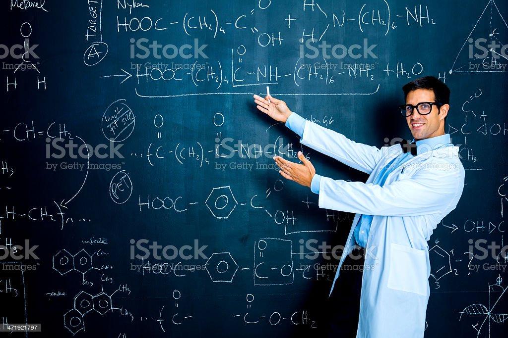 Scientist enjoying chemistry stock photo