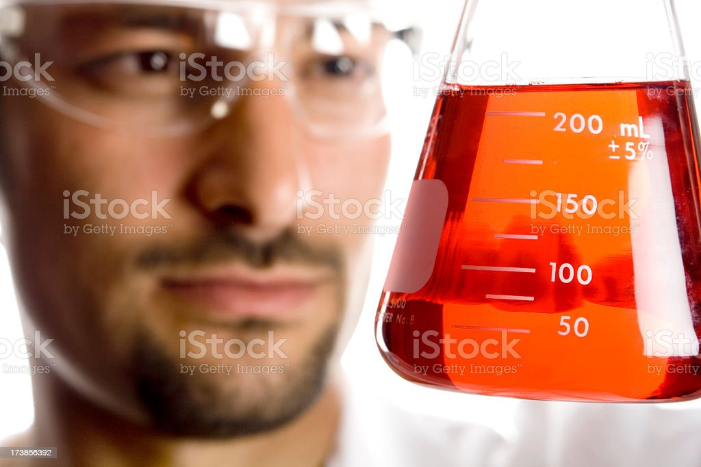 Scientist Experimenting With Red Liquid royalty-free stock photo