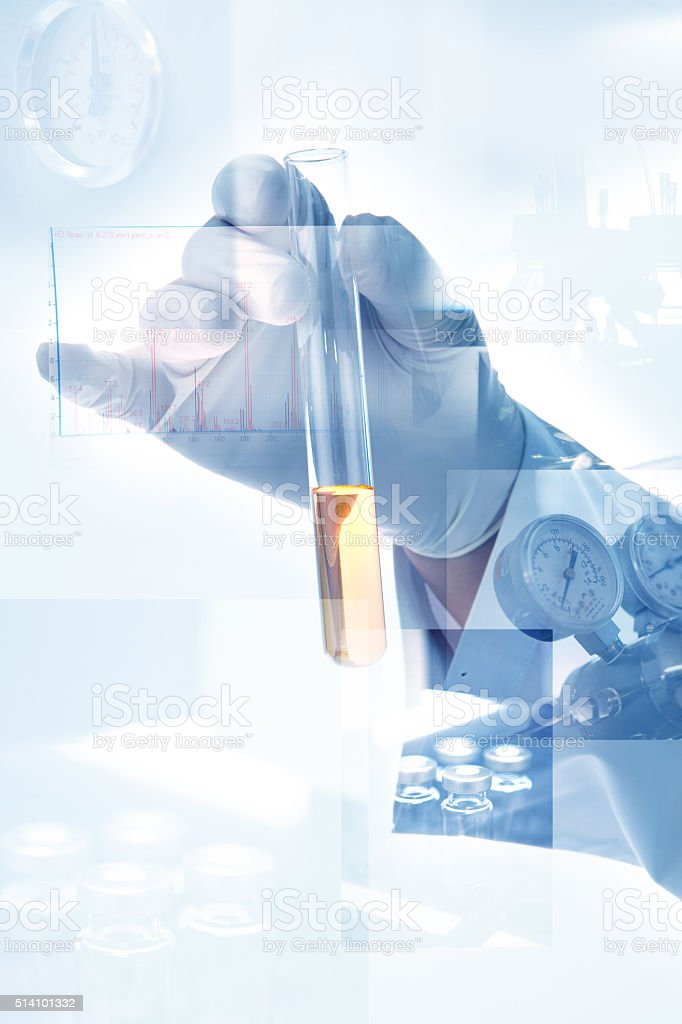 scientist hand with laboratory background stock photo