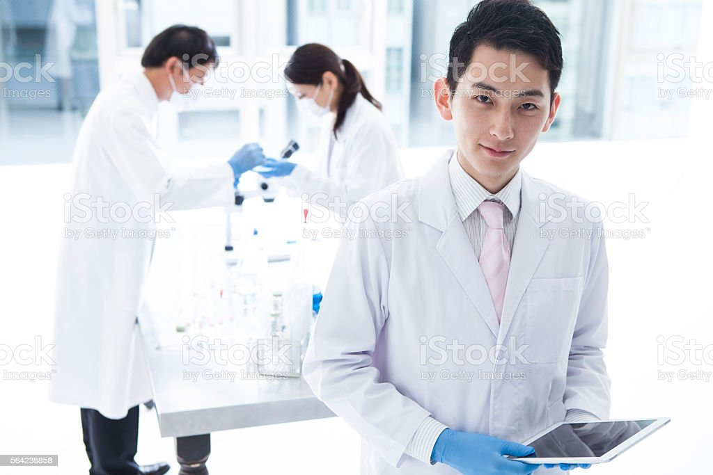 Scientist in lab. stock photo