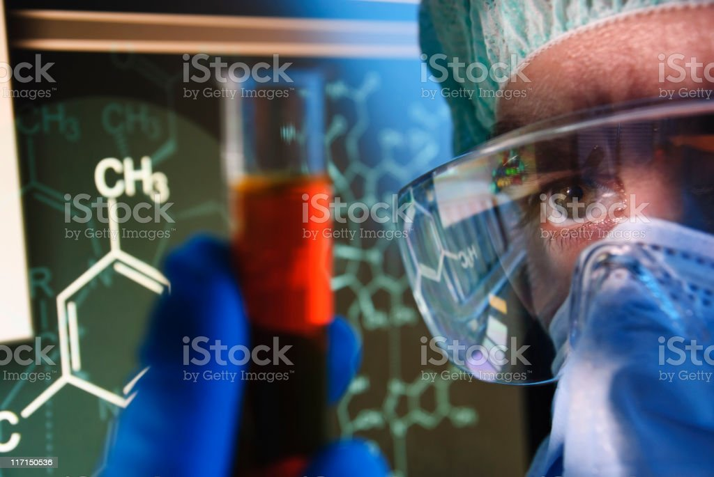 Scientist Looking at Test Tube royalty-free stock photo