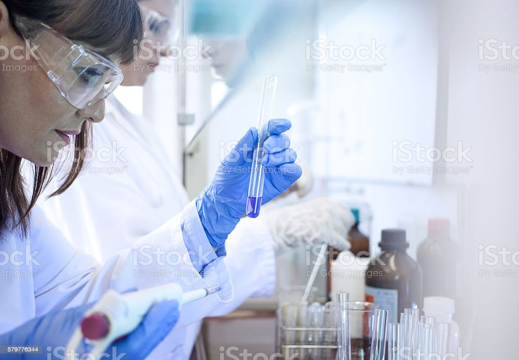 Scientist looking at the test tube in the digestorium stock photo