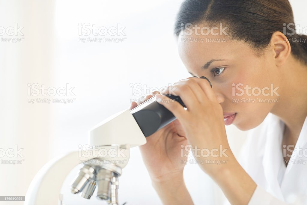 Scientist Looking Through Microscope In Laboratory royalty-free stock photo