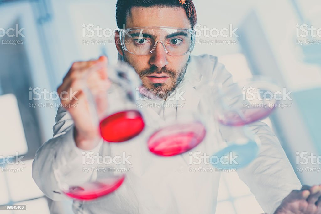 Scientist pipetting sample into a petri dish in a laboratory stock photo