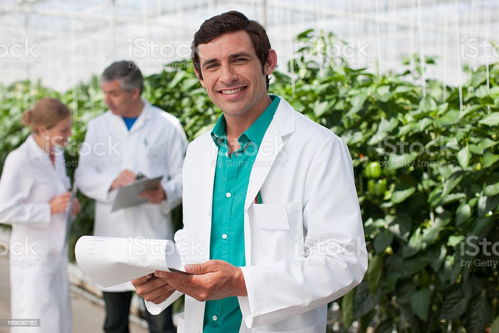 Scientist reading clipboard in greenhouse stock photo