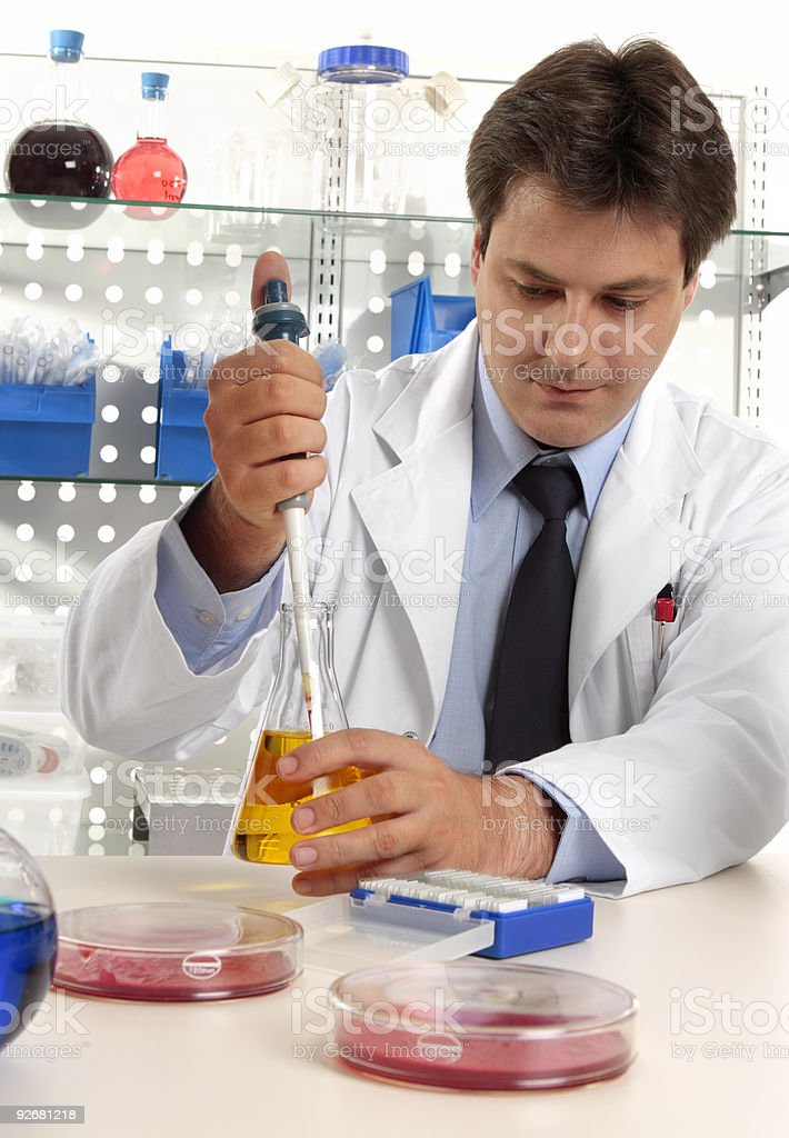 Scientist taking sample with pipette royalty-free stock photo