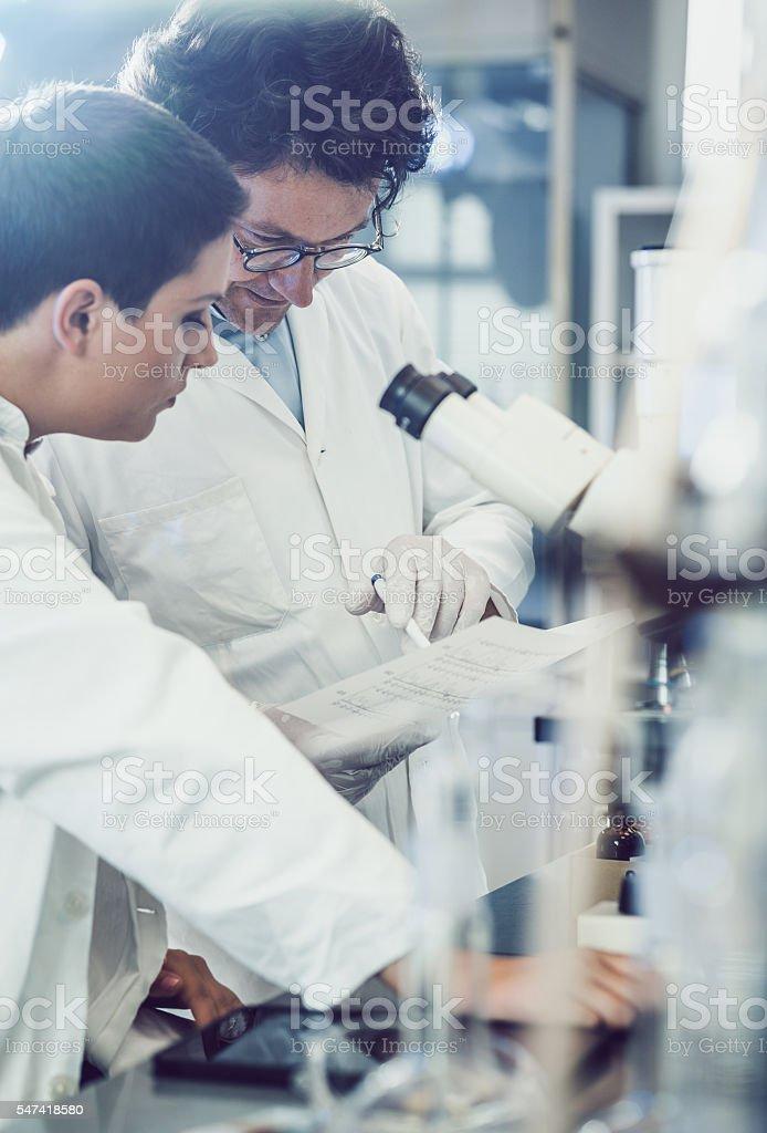 Scientist using microscope in the laboratory stock photo