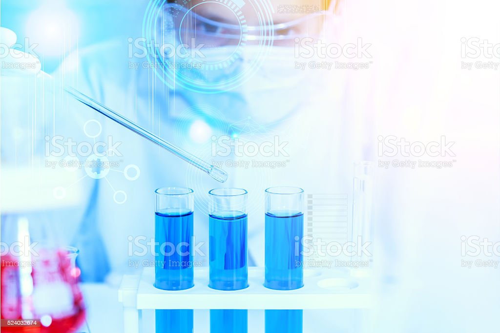 Scientist with laboratory background and concept. stock photo