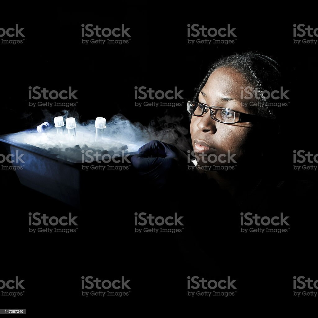 Scientist with samples stock photo