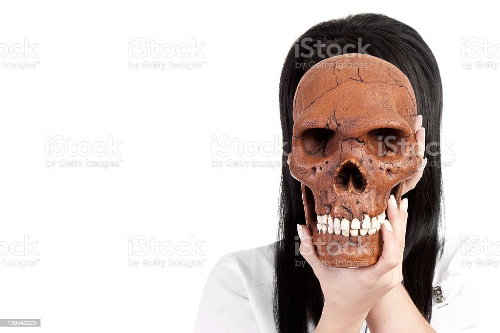 scientist with skull royalty-free stock photo