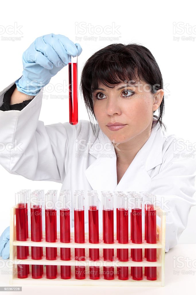 Scientist with test tubes royalty-free stock photo