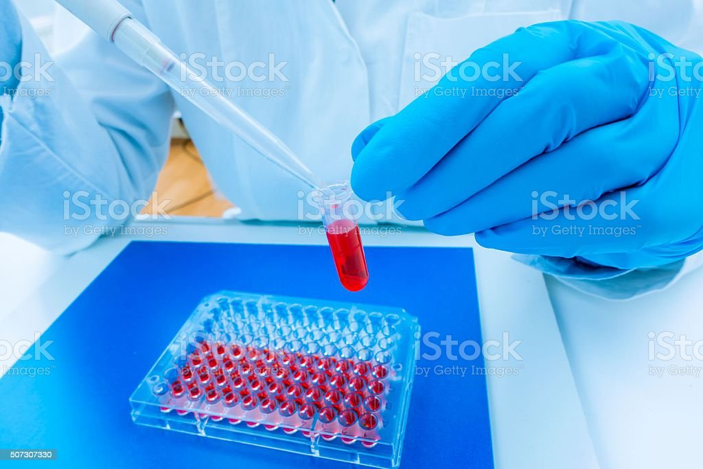 scientist woman in genetic laboratory stock photo