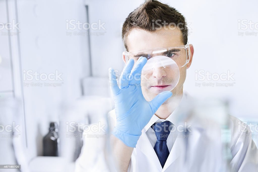Scientist working at the chemistry laboratory. stock photo
