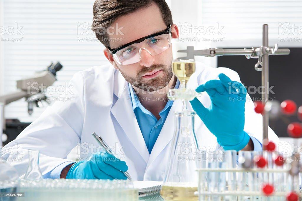 scientist working stock photo