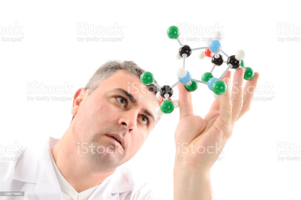 Scientist working with molecular structure royalty-free stock photo