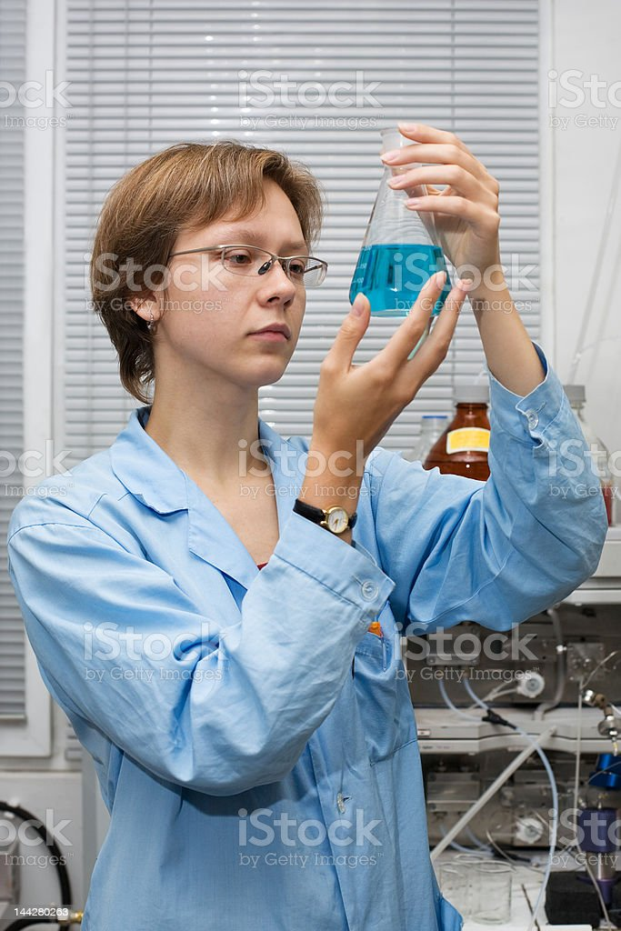 Scientist,flask royalty-free stock photo