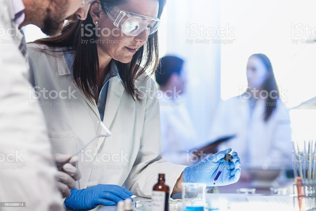 Scientists Placing Reagents into a Petri Dish stock photo