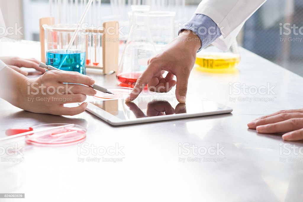 Scientists pointing to the electronic tablet stock photo