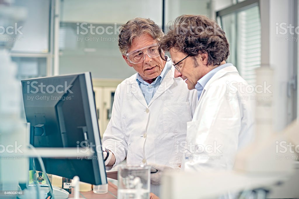 scientists  uses modern technology for  research stock photo